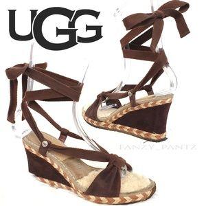 Ugg Amelie wedge sandal espadrille 8  brown 1698